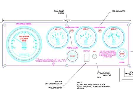 Engine Instrument Seaward Panel Yanmar C-42 Vision Series
