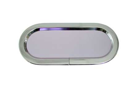 """<span style= >Fixed Port, Lewmar Polished Aluminum<br/>7-1/2"""" x 16-3/4""""</span>"""