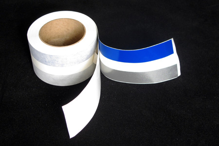 <span style= >50 Roll Sheer Stripe Tape<br/>Sapphire Blue & Silver</span>