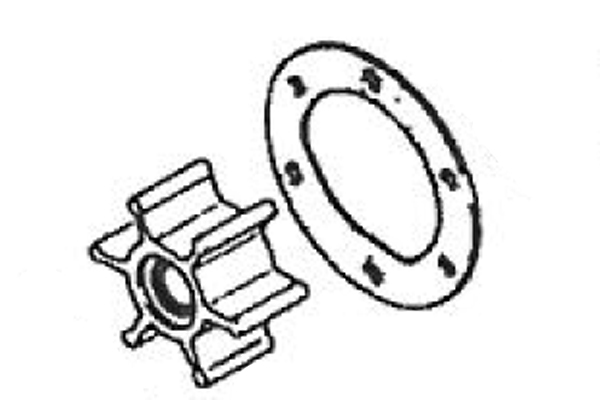 <span style= >Water Pump Impeller Kit<br/>2GM & 3GM Yanmar Engines, Pump w/ 45 Degree Screw in Barbs</span>