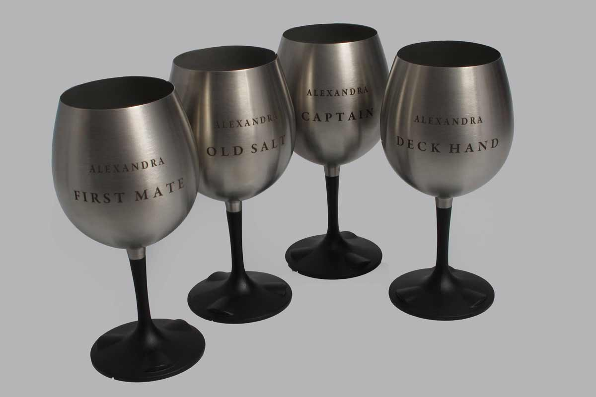<span style= >Wine Glass Engraved Stainless Nesting, Red Wine, Set of 4</span>