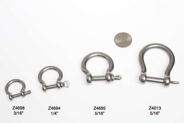 """<span style= >Shackle, Bow, 5/16"""" Pin; Mains'l Tack Shackle for C-320, C-34, C-36</span>"""